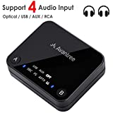 Avantree aptX LOW LATENCY Bluetooth Audio Transmitter for TV, DUAL LINK, NO DELAY, 100ft Long Range, OPTICAL, USB, 3.5mm AUX & RCA Wireless Adapter for PC & Headphones - Audikast [3-Year Warranty]