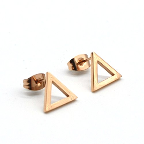 14K Rose Gold Plated Stainless Steel Stud Earrings, A Pair Triangle Stud Earrings Ge43