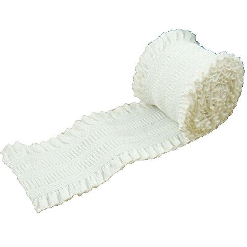 Elastic Stretch Ruffled Lace Double Ruffle Ribbon Pack of 5 Yards (2 Inch, White)