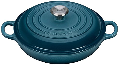 Enameled Cast-Iron 3-1/2-Quart Round Braiser, Marine (Le Creuset Cast Iron Classic Cookware)
