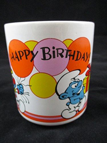 (Vintage 1981 Smurf Happy Birthday Mug W Berrie & Co Peyo Clown Cake Gift)