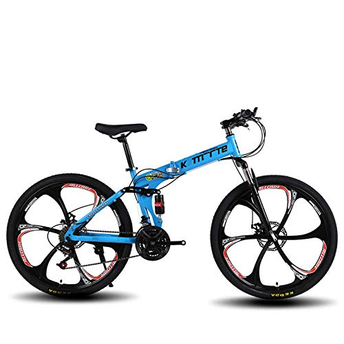 24-Inch Folding Bike, Mountain Bike, Adult Teens Mountain Trail Bicycle with 21/24/27 Speed Gears Dual Disc Brakes…
