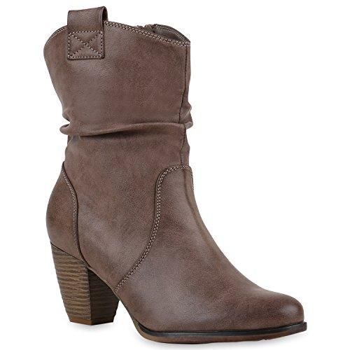 Modische Damen Stiefel Cowboy Boots Leder-Optik Cowboystiefel Block Absatz Stiefeletten Freizeit Schuhe Basic Flandell Khaki Braun Bernice