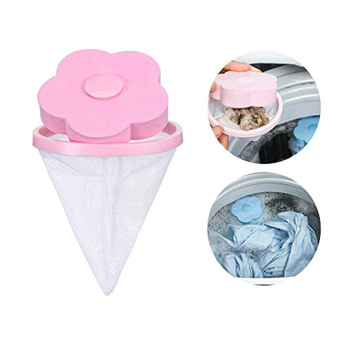 Washing Machine Floating Lint Traps Mesh Bag Hair Filter Net Puch, Aolvo Flower-type Laundry Mesh Dust Lint Washer Sock Filter, Portable Hair Catcher Hair Removal Laundry Ball for Washing Machine Pink