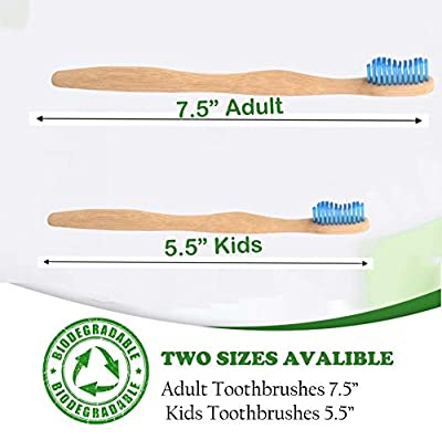 Bamboo Toothbrush for Kids and Adults | 12 Pack toothbrushes + Tooth Brush Holder | Biodegradable Compositable Natural Wood | Non Toxic Soft BPA Free Bristles | by Little Footprint