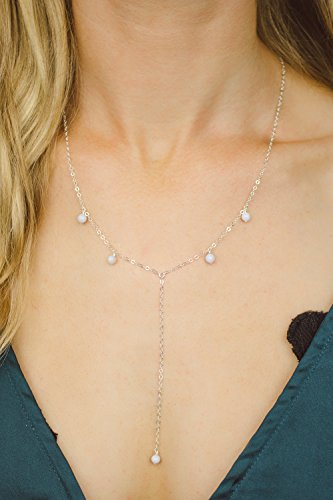 """Boho blue lace agate lariat y necklace in 925 sterling silver - 18"""" chain with 2"""" adjustable extender"""