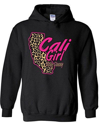 Raxo Cali Girl Stay Classy Hoodie Cheetah California Republic Hooded Sweatshirt L Black