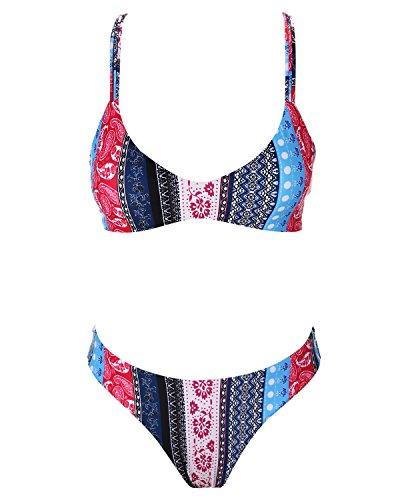stripsky Strappy Cross Back Bikini Set, Padded Floral Multicolor Brazilian Swimsuit for Women, Multicolor L