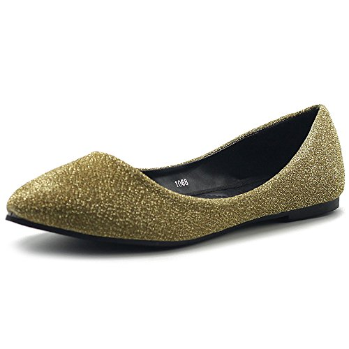 Ollio Womens Shoes Ballet Comfort Glitter Light Pointed Toe Flats Gold 4Uqr40c