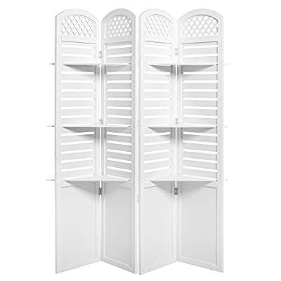 4-Panel Garden-Inspired White Wood Room Divider Screen with Removable Decorative Shelves