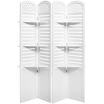 amazon com white wood floral cut out design 4 panel room divider