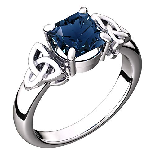 GWG Sterling Silver Ring for Women with Large Sapphire Blue CZ Square Stone Graced with Celtic Trinity Knots on Sides - 8 ()
