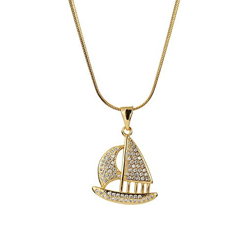 MCSAYS Hip Hop Jewelry Sailboat Pendant Stainless Steel Iced Out Bling Necklace (Gold, 50cm)