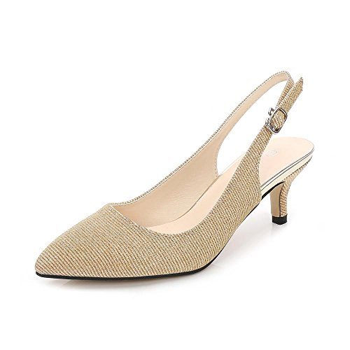 Women's Slingback Kitten Heels Dress Pumps Shoes Golden-Glitter Tag 38-7 B(M) (Golden Ladies Shoes)