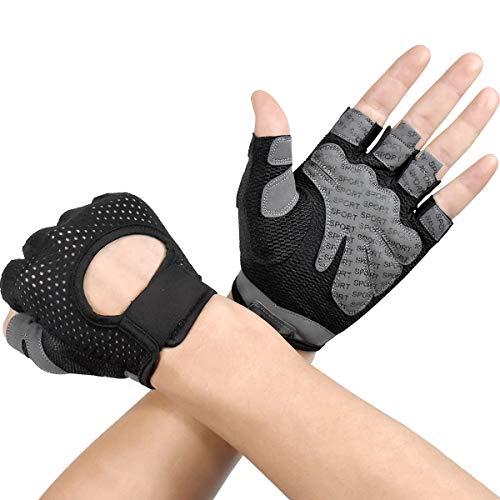 Dokpav Sporthandschoenen, ademende trainingshandschoenen, fietshandschoenen, antislip siliconen gevoerde palmbescherming…