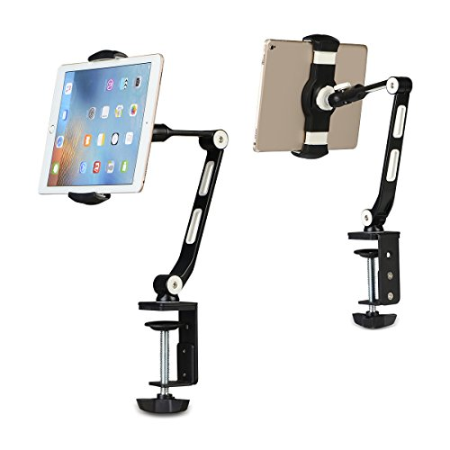 suptek 360 Degree Adjustable Stand/Holder with Clamp for Tablets & iPad iPhone Samsung Asus Tablet Smartphone and more up to 13 inches Black YF208B by suptek (Image #2)