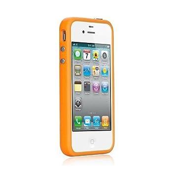 Xcessor de Bumper Funda Carcasa Clásico Para el Apple iPhone 4 y 4S. Botones Metálicos. Caucho y Plástico. Naranja