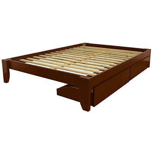 Epic Furnishings Scandinavia Twin-Size Solid Bamboo Wood Platform Bed Red Mahogany Finish