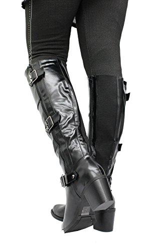 Shine Boots 3 Buckles 8 Ladies Block High High Black Heel Knee Size Long Pu Biker Shoes Mid Riding Women FqfFWTOH