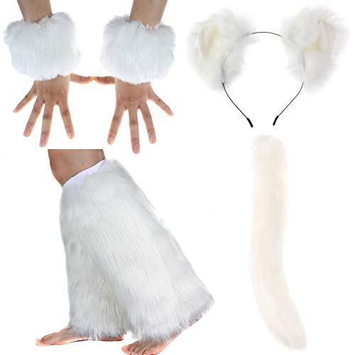 Women's Cosplay Headband Gloves Leg warmer Tail Sexy Costume Outfit Party Accessory -