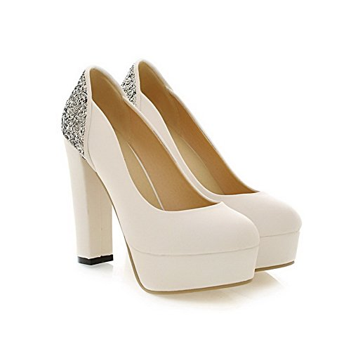 Toe Spikes Round White PU Womens Stilettos Suede UK Frosted Shoes VogueZone009 4 Solid 5 Pump tqpEngw