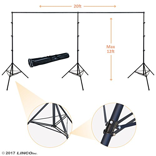 Linco Lincostore 12x20 feet Heavy Duty Photography Backdrop Stand Background Support System Kit 4169H by Linco