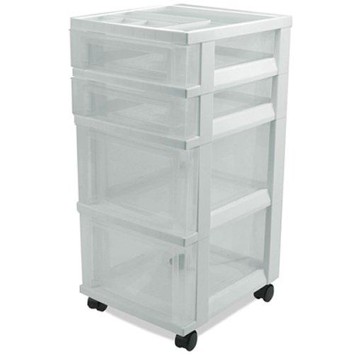 IRIS 4 Drawer Rolling Cart with Organizer Top & White Frame - 14.25'' L x 12.05'' W x 26.44'' H (1 Cart)
