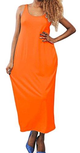 Donna Domple Arancione Vestito Senza Sportiva Spiaggia Schienale Sexy Senza Maxi Maniche gqwqaxUd