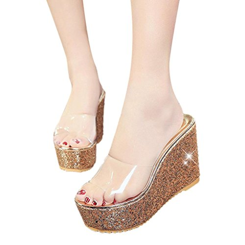 UPC 646471563653, Sunbona Women's Non-Slip Transparent Slide Sandals Bling Glitter Platform Wedge Beach Slippers Slide On High Heel Shoes (US:8 (RU/EU/CN:39 ), Gold)