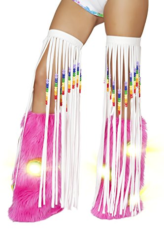 [J. Valentine Women's Beaded Fringe Leggings, White, One Size] (Edc Costumes Men)