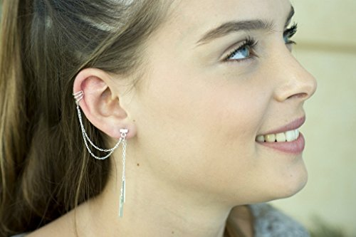 (Handmade Designer Unique Sterling Silver Ear Cuff - Multi Strand Double Sided Ear Cuff Wrap Earring with Drop Bars)