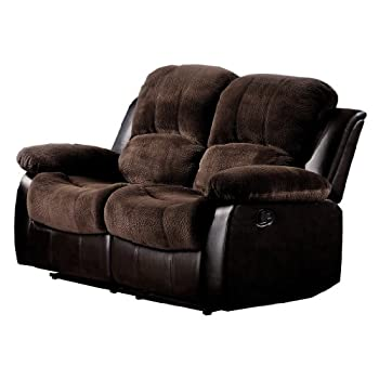 Homelegance 9700FCP-2 Double Reclining Loveseat, Brown Plush Microfiber