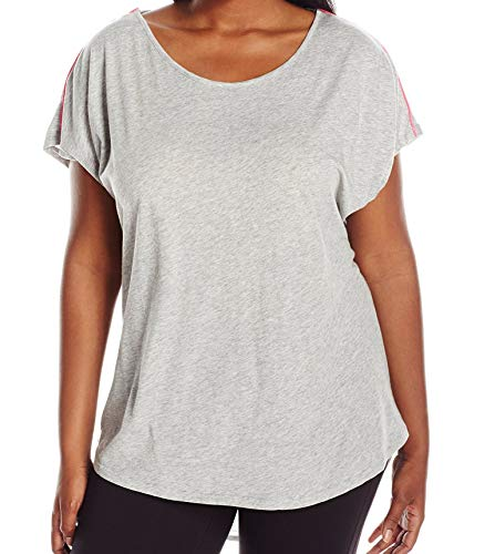 Marc New York Performance Women's Plus Size Draped Back Tee with Piping, Light Grey Heather/Hot Pink, 2X