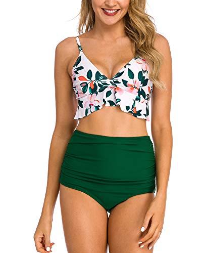 Coskaka Women Two Pieces High Waisted Ruffle Bikini Set Printed Swimwear Bathing Suit Junior Bikini Swimsuits for Teen Girls Green S