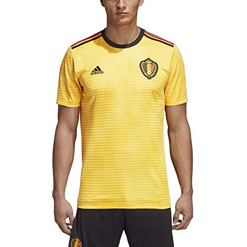 (adidas Men's Soccer RBFA Beligum Away Jersey (Medium) Bold Gold/Black/Vivid Red)