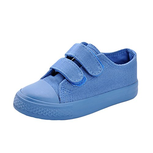 MK MATT KEELY Kids Canvas Shoes Boy Girl Unisex Sneakers Children Hook Loop Loafers School Board Shoes Blue(Toddler/Little Kid)