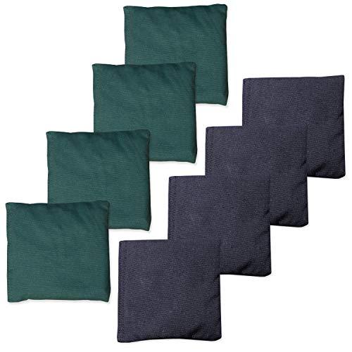 Play Platoon Weather Resistant Cornhole Bean Bags Set of 8 - Hunter Green & Navy Blue