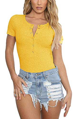 Womens Leotard Knitted Ribbed Bodysuits Short Sleeve Basic Solid Button Down Bodycon Jumpsuit Stretchy Romper Leotard Tops(Yellow, X-Large) ()