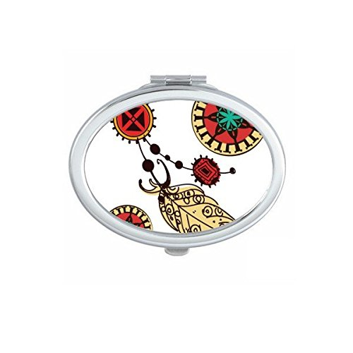 Native American Indian Inspired Feather Decal Oval Compact Makeup Pocket Mirror Portable Cute Small Hand Mirrors (Native Indian Makeup)