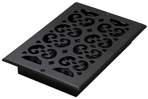 Decor Grates ST610W 6-Inch by 10-Inch Painted Wall Register, Black - Wall Nickel Register Brushed