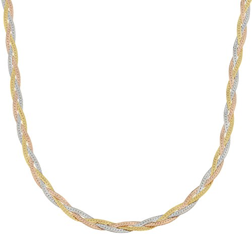 Kooljewelry 10k Tricolor Gold Braided Herringbone Chain Necklace Neckalce (3.4 mm, 18 inch)