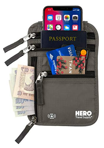 HERO Neck Wallet - RFID Blocking Passport Holder - Easy to Conceal Travel Pouch - Includes Ebook on How to Avoid Pickpockets by Asher & Lyric