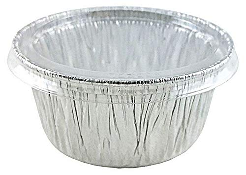Pactogo 4 oz. Aluminum Foil Cup w/Clear Plastic Lid - Disposable Utility/Cupcake/Ramekin/Muffin Baking Tins (Pack of 100 Sets)