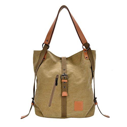 distribution_PO Women's Canvas Tote Bag Multi-purpose Shoulder Casual Bag (khaki)