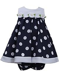 Baby Girls 3M-24M Blue White Nautical Resort Polka Dot Trapeze Dress