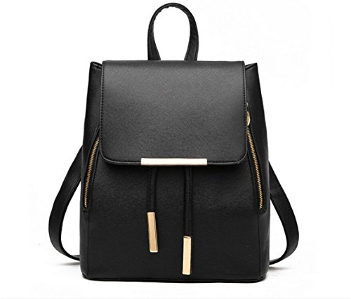 WINK KANGAROO Fashion Shoulder Bag Rucksack PU Leather Women Girls Ladies Backpack Travel bag (Black)