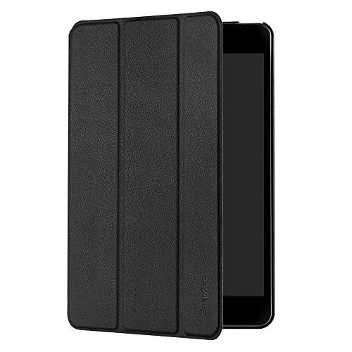iPad Mini 4 Hülle, EasyAcc Ultra Slim Mini 4 Case Tasche PU Leder zubehör hüllen mit Standfunktion / Auto Sleep Wake up für Apple iPad Mini 4 Smart Cover (Schwarz, Kunstleder, Ultra Dünn)