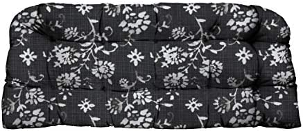 RSH D cor Decorative Indoor Outdoor Tufted Wicker Loveseat Settee Choose Size Fabric Great for Porch, Deck Home Decor 1 – Large 44 x 22 Cushion, Lenore Matte Black Abstract Floral