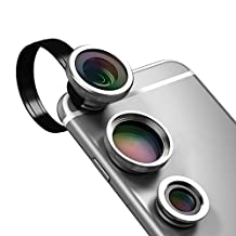 dodocool Universal 3-in-1 Clip-On 180° Fisheye + 0.67X Wide Angle + 10X Macro Camera Lens Kit For iPhone Samsung LG and Other Android Smartphones Gold