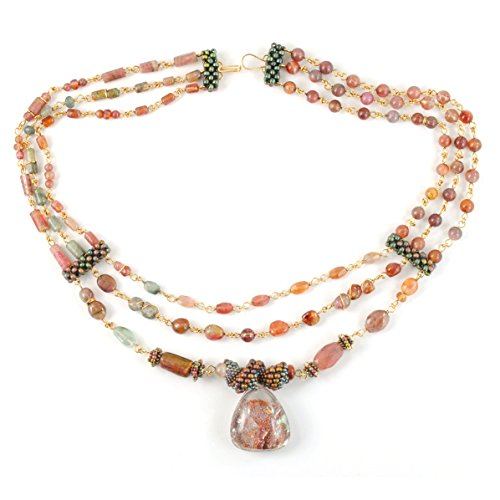 14k Three Strand Gold (Tourmaline Necklace with Lodolite in 14K Gold Filled; Handcrafted and One of a Kind)